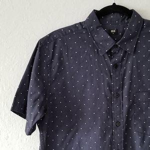 Uniqlo Navy Short-Sleeve Polka Dot Shirt Medium